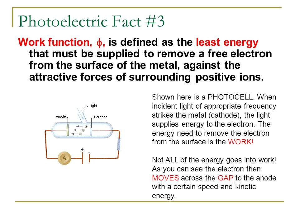 Photoelectric Fact #3 Work function, , is defined as the least energy that must be supplied to remove a free electron from the surface of the metal,