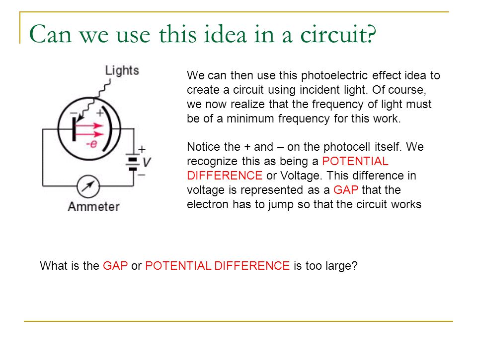 Can we use this idea in a circuit? We can then use this photoelectric effect idea to create a circuit using incident light. Of course, we now realize