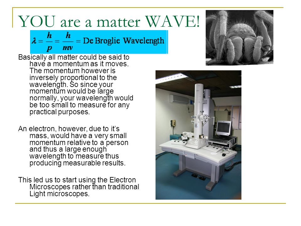 YOU are a matter WAVE! Basically all matter could be said to have a momentum as it moves. The momentum however is inversely proportional to the wavele