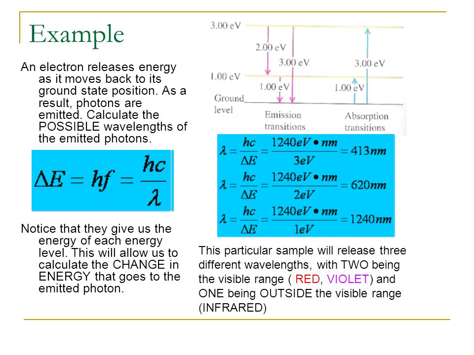 Example An electron releases energy as it moves back to its ground state position. As a result, photons are emitted. Calculate the POSSIBLE wavelength