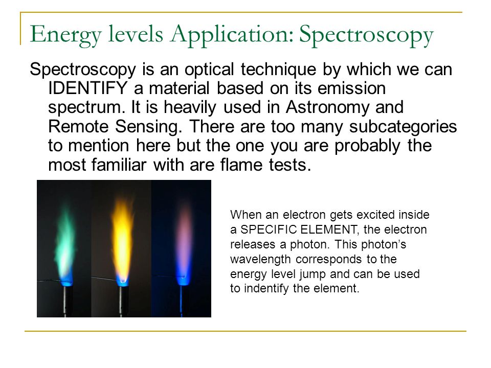 Energy levels Application: Spectroscopy Spectroscopy is an optical technique by which we can IDENTIFY a material based on its emission spectrum. It is