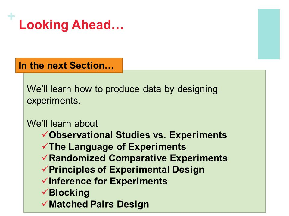 + Looking Ahead… We'll learn how to produce data by designing experiments. We'll learn about Observational Studies vs. Experiments The Language of Exp