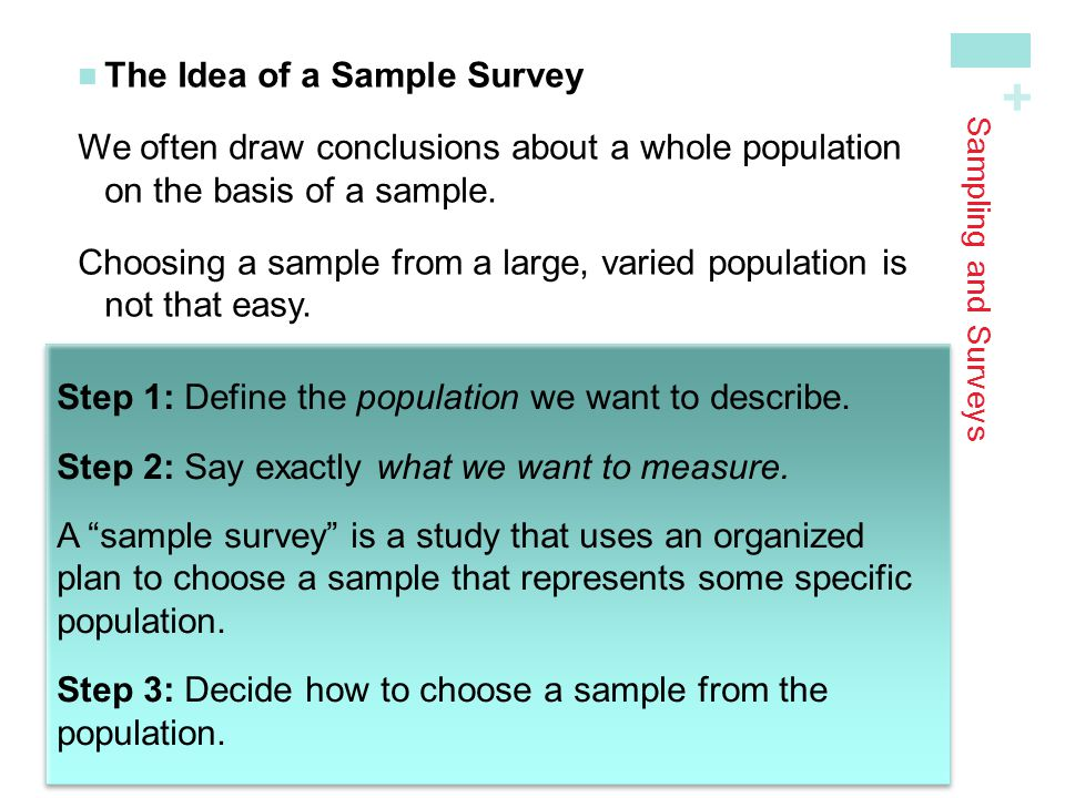 + Sampling and Surveys How to Sample Badly How can we choose a sample that we can trust to represent the population.