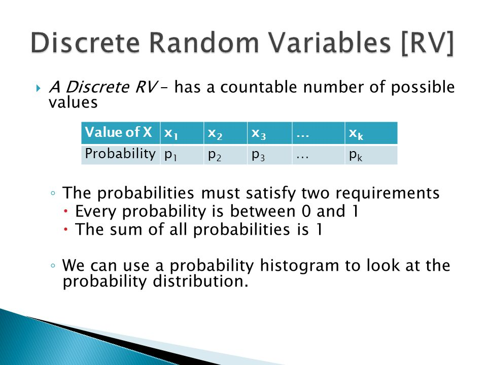  A Discrete RV – has a countable number of possible values ◦ The probabilities must satisfy two requirements  Every probability is between 0 and 1 