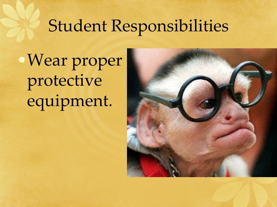 Student Responsibilities Be aware of the dangers of long hair, long sleeves, and loose clothing.