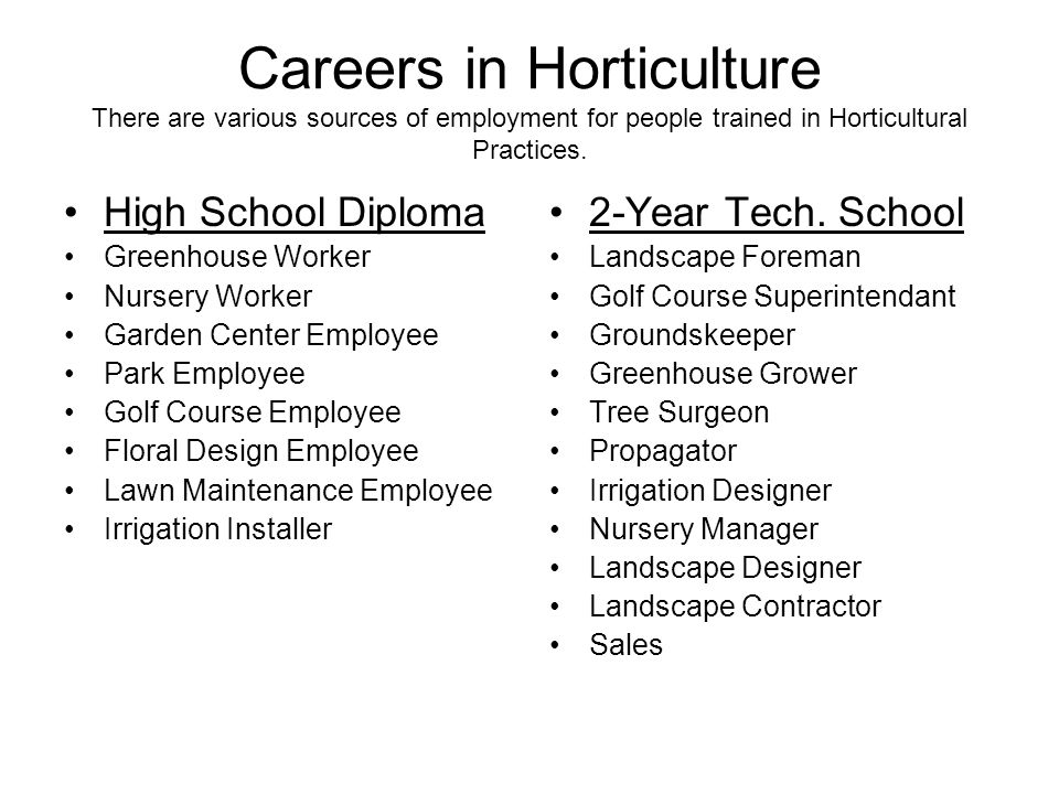 Careers in Horticulture There are various sources of employment for people trained in Horticultural Practices. High School Diploma Greenhouse Worker N