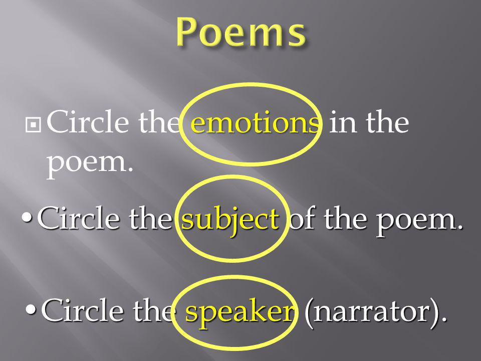 emotions  Circle the emotions in the poem.
