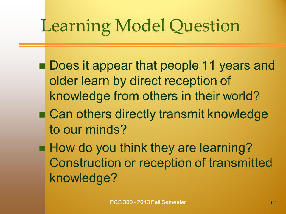 Learning Model Question n Does it appear that people 11 years and older learn by direct reception of knowledge from others in their world? n Can other