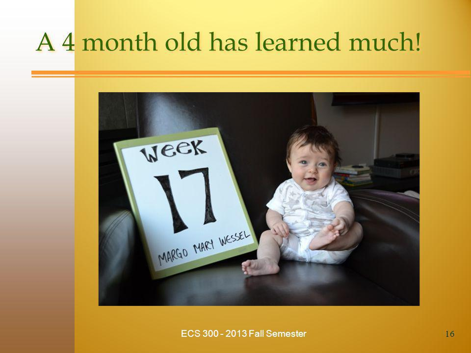 A 4 month old has learned much! ECS 300 - 2013 Fall Semester 16