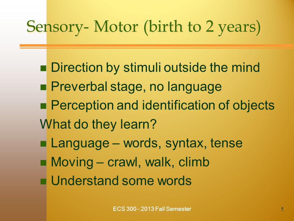 Sensory- Motor (birth to 2 years) n Direction by stimuli outside the mind n Preverbal stage, no language n Perception and identification of objects What do they learn.
