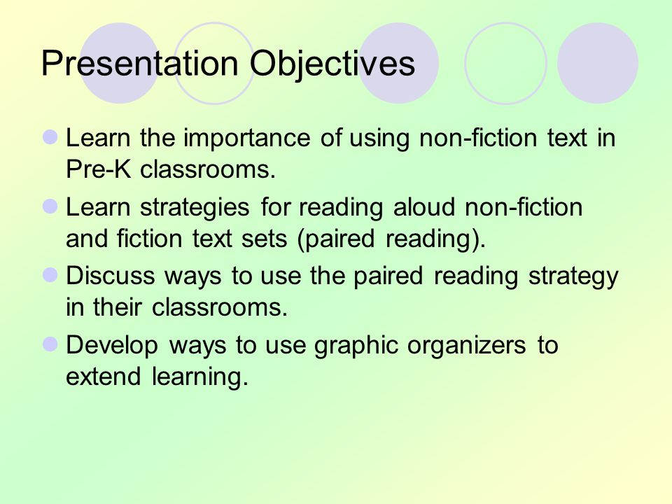 Importance of Non-fiction Texts in Pre-K Children need concrete experiences.