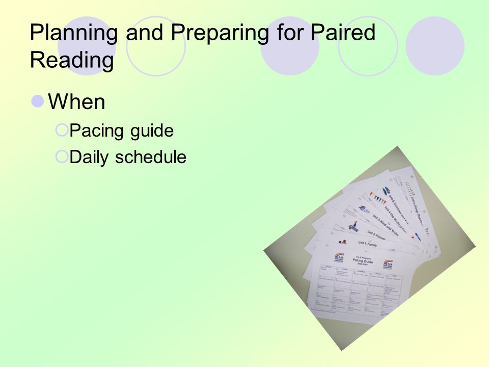 Planning and Preparing for Paired Reading When  Pacing guide  Daily schedule
