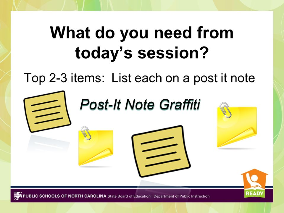 What do you need from today's session? Top 2-3 items: List each on a post it note Post-It Note Graffiti