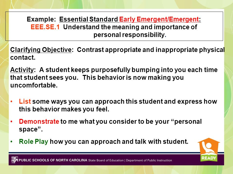 Example: Essential Standard Early Emergent/Emergent: EEE.SE.1 Understand the meaning and importance of personal responsibility. Clarifying Objective:
