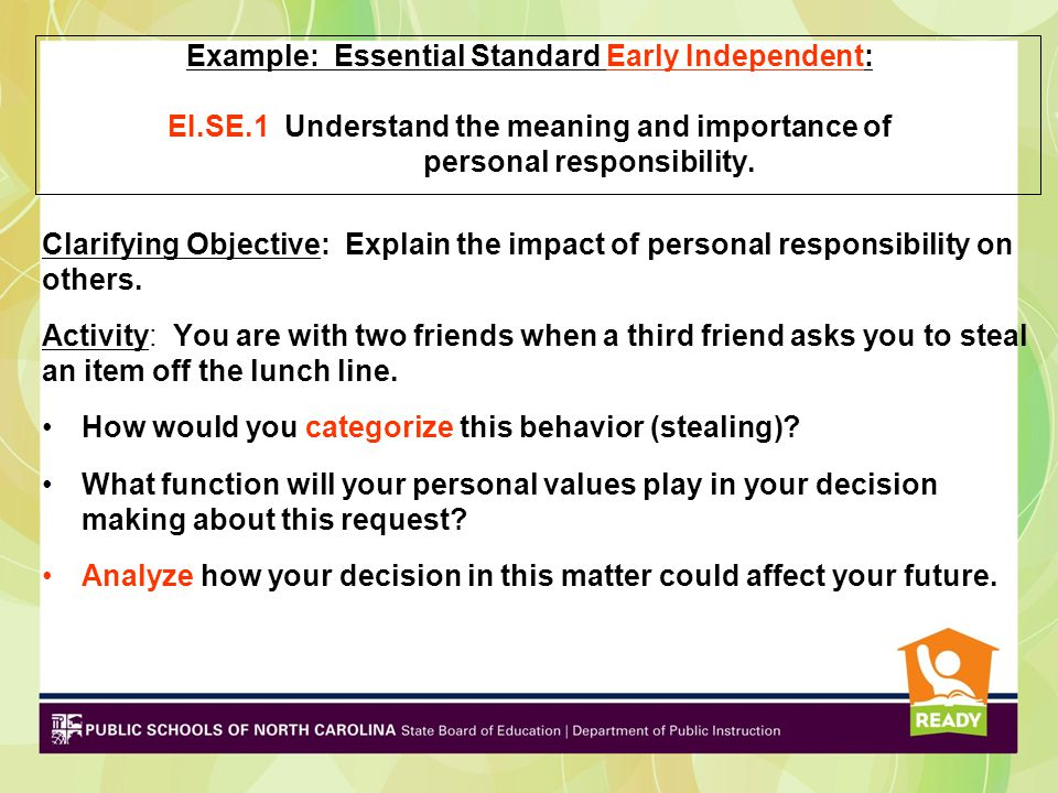 Example: Essential Standard Early Independent: EI.SE.1 Understand the meaning and importance of personal responsibility. Clarifying Objective: Explain