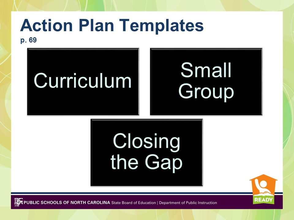 Action Plan Templates p. 69 Curriculum Small Group Closing the Gap