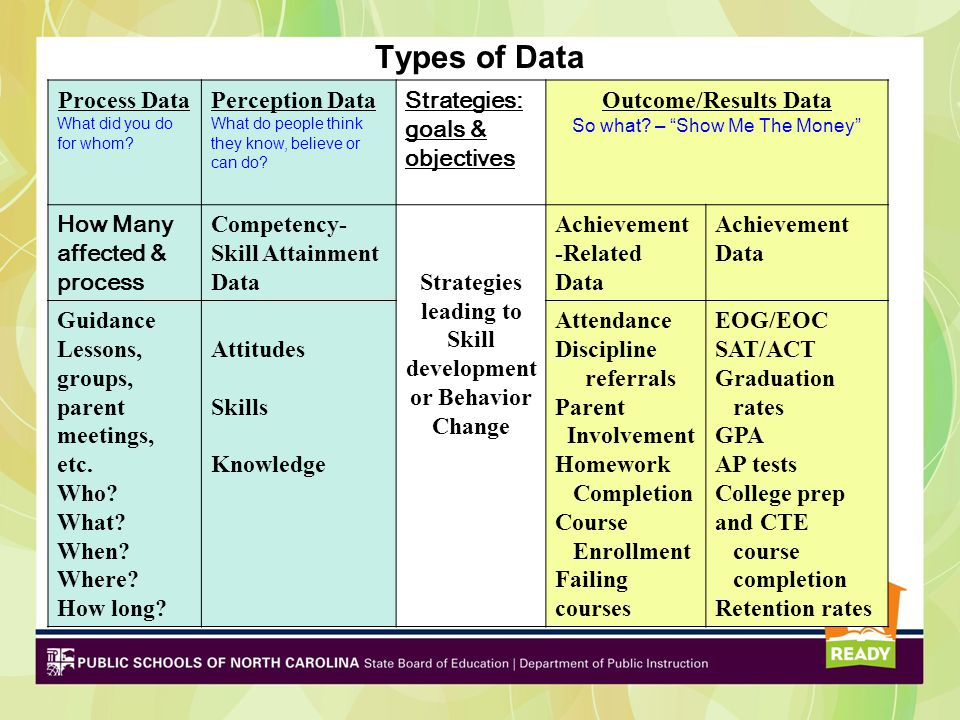 Types of Data Process Data What did you do for whom? Perception Data What do people think they know, believe or can do? Strategies: goals & objectives