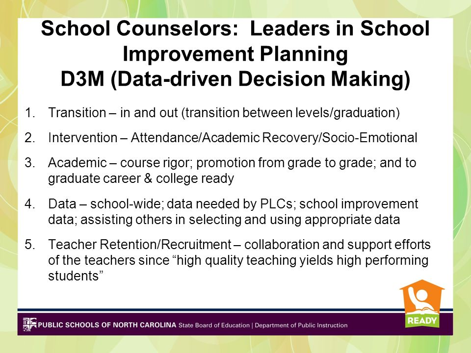 School Counselors: Leaders in School Improvement Planning D3M (Data-driven Decision Making) 1.Transition – in and out (transition between levels/gradu