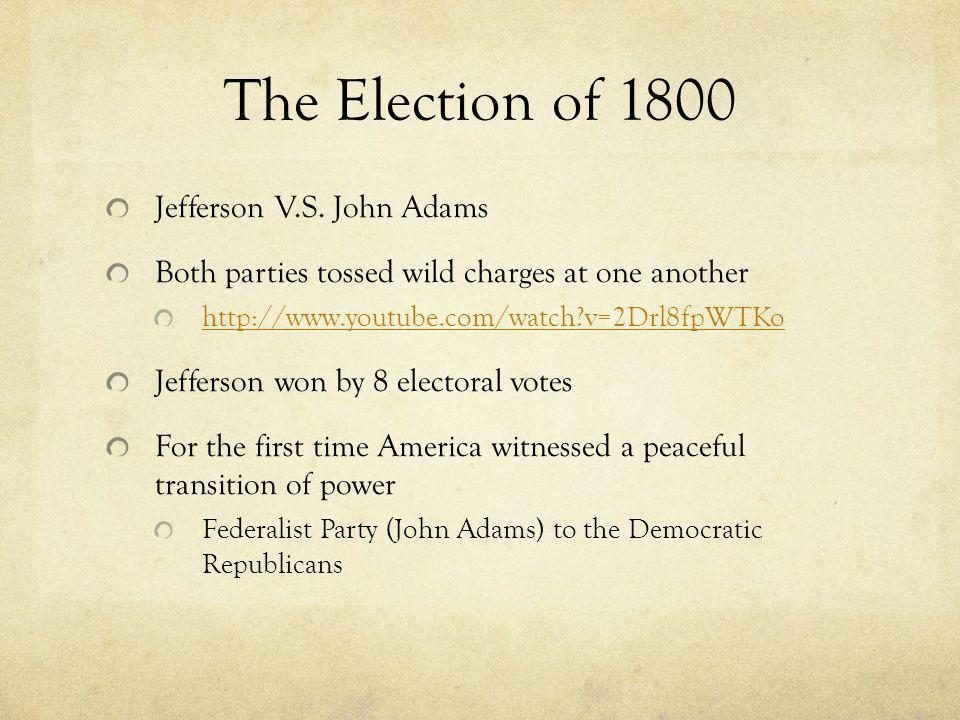 The Election of 1800 Jefferson V.S.
