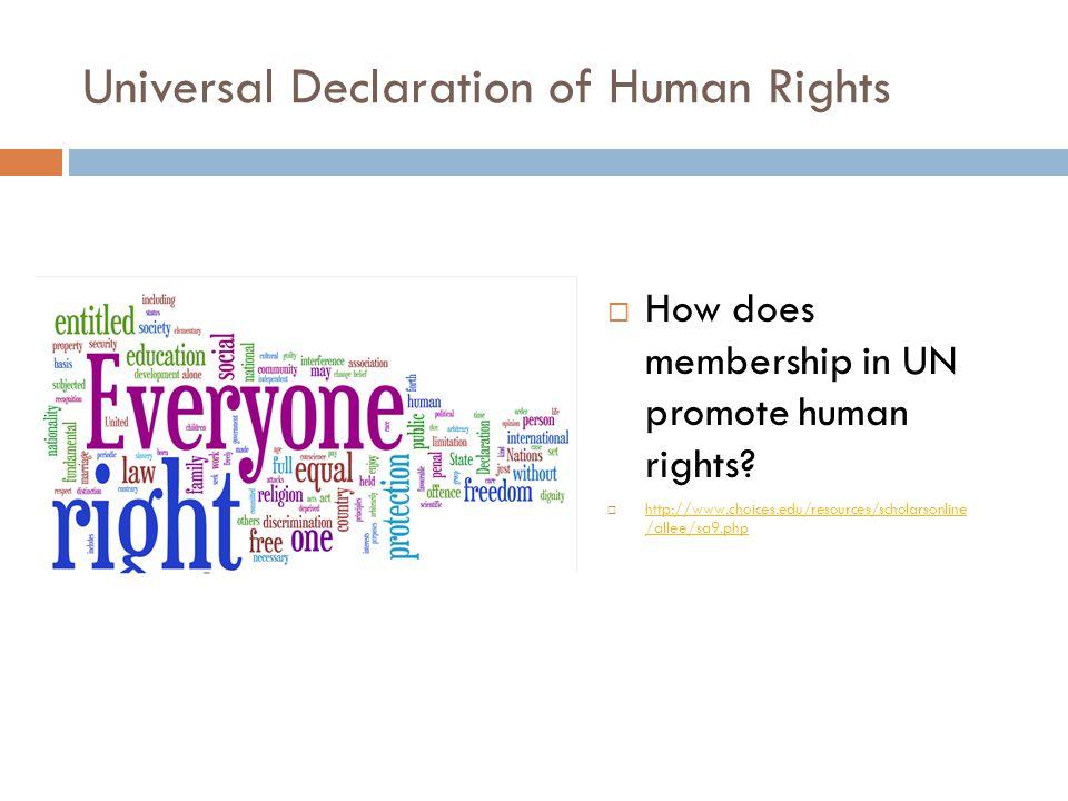 Universal Declaration of Human Rights  How does membership in UN promote human rights.