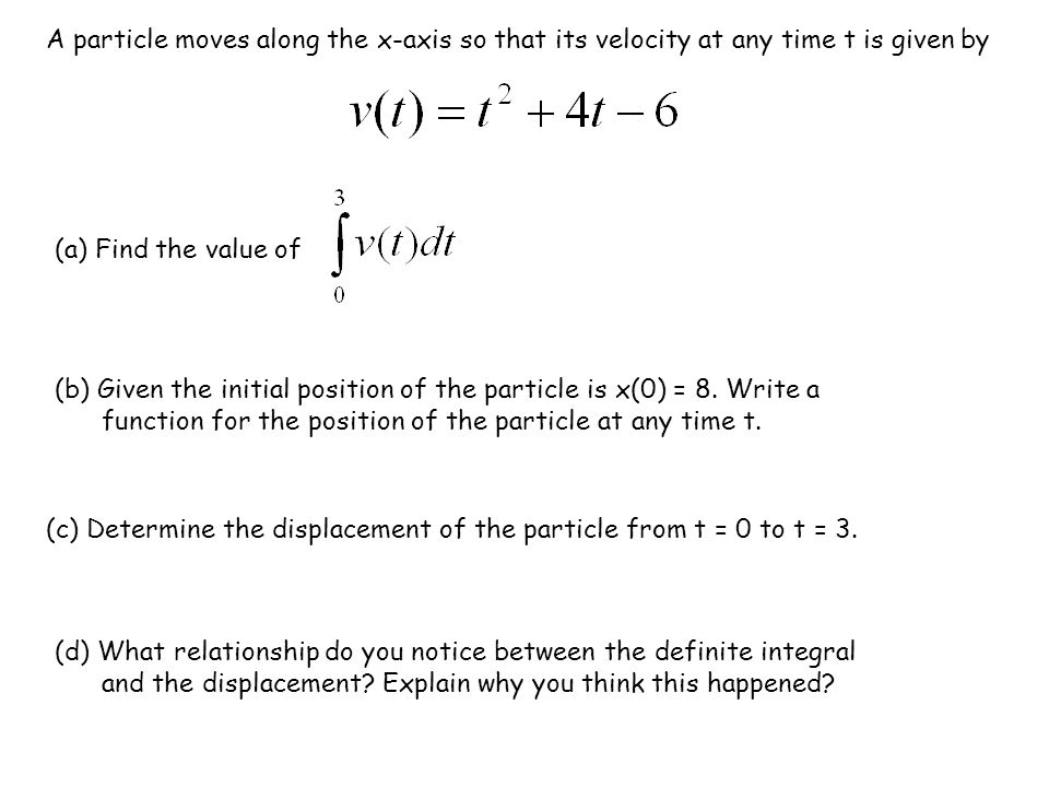 Position and Velocity is the displacement from time a to time b (in other words the change in position) x(b) = x(a) + displacement from a to b.