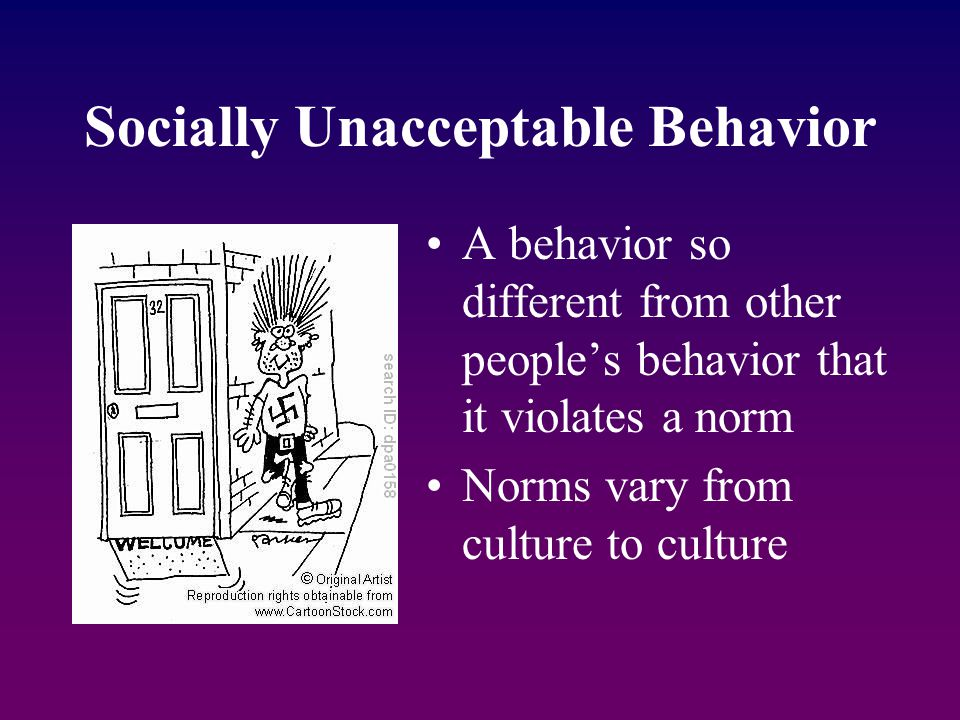 Socially Unacceptable Behavior A behavior so different from other people's behavior that it violates a norm Norms vary from culture to culture