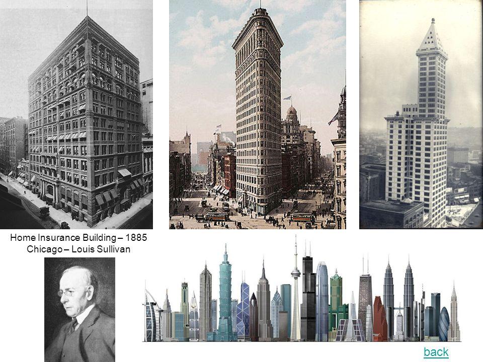 Home Insurance Building – 1885 Chicago – Louis Sullivan back