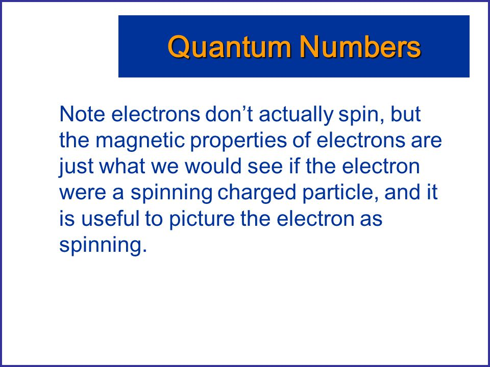 Note electrons don't actually spin, but the magnetic properties of electrons are just what we would see if the electron were a spinning charged partic