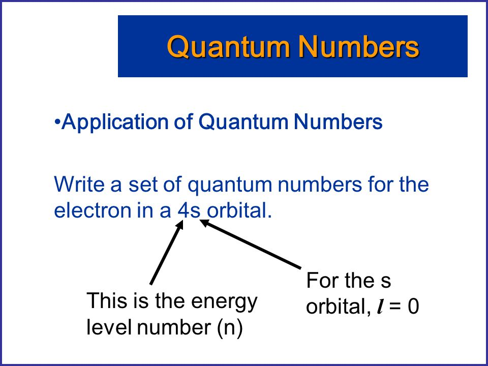 Application of Quantum Numbers Write a set of quantum numbers for the electron in a 4s orbital. Quantum Numbers This is the energy level number (n) Fo