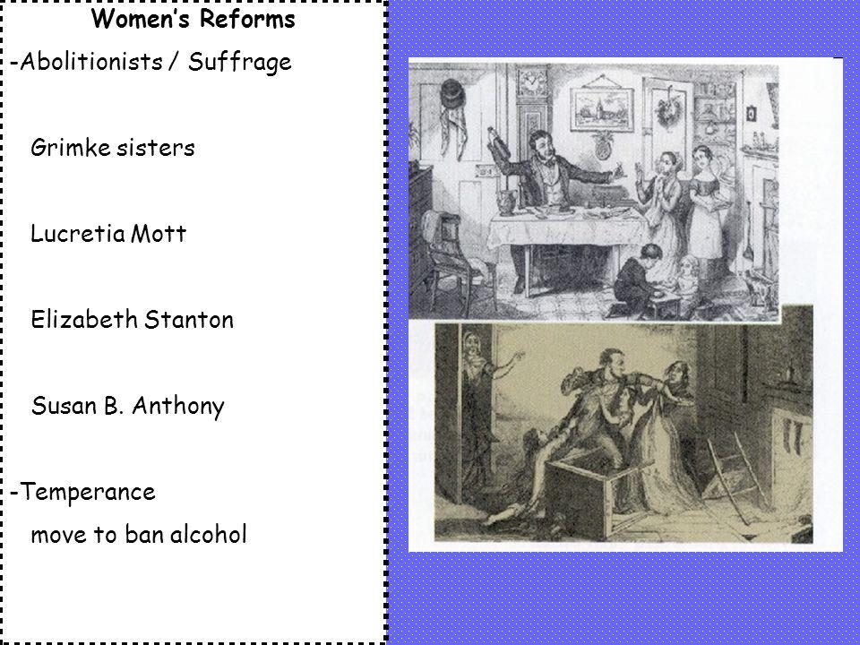 Women's Reforms -Abolitionists / Suffrage Grimke sisters Lucretia Mott Elizabeth Stanton Susan B.