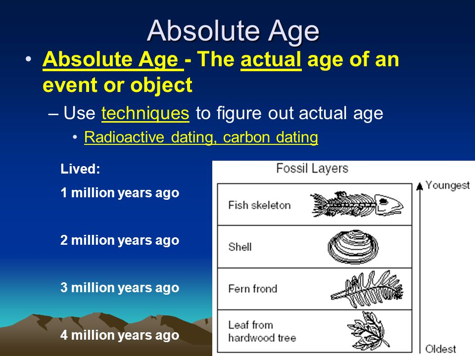 Absolute Age Absolute Age - The actual age of an event or object –Use techniques to figure out actual age Radioactive dating, carbon dating Lived: 1 million years ago 2 million years ago 3 million years ago 4 million years ago