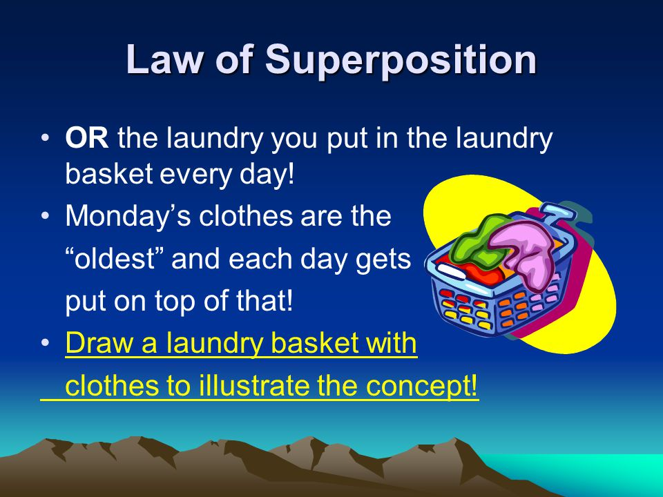 Law of Superposition OR the laundry you put in the laundry basket every day.
