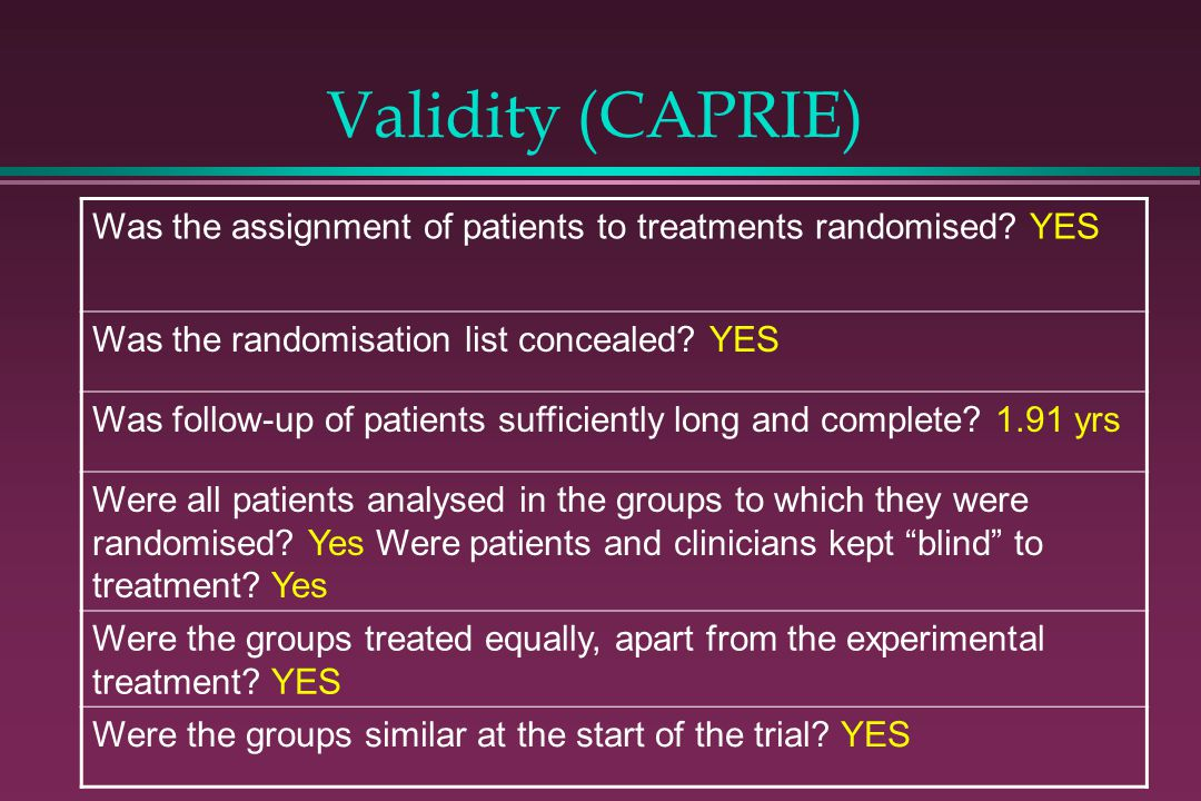 Validity (CAPRIE) Was the assignment of patients to treatments randomised? YES Was the randomisation list concealed? YES Was follow-up of patients suf