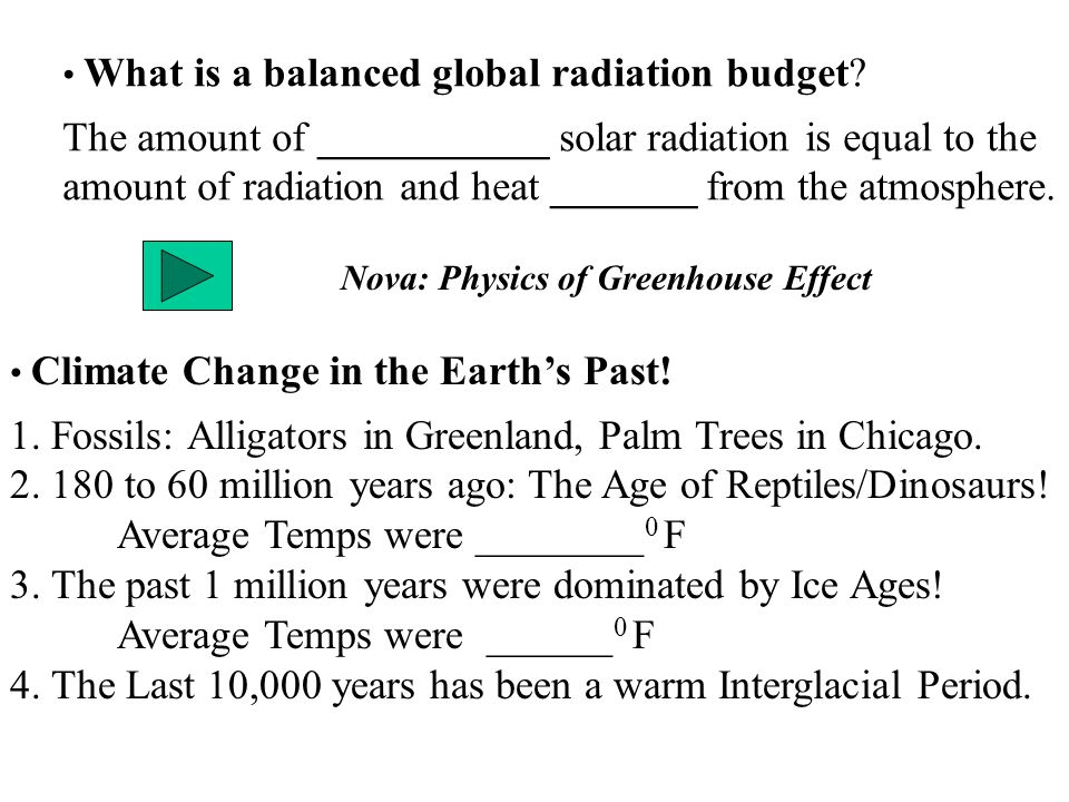 What is a balanced global radiation budget? The amount of ___________ solar radiation is equal to the amount of radiation and heat _______ from the at