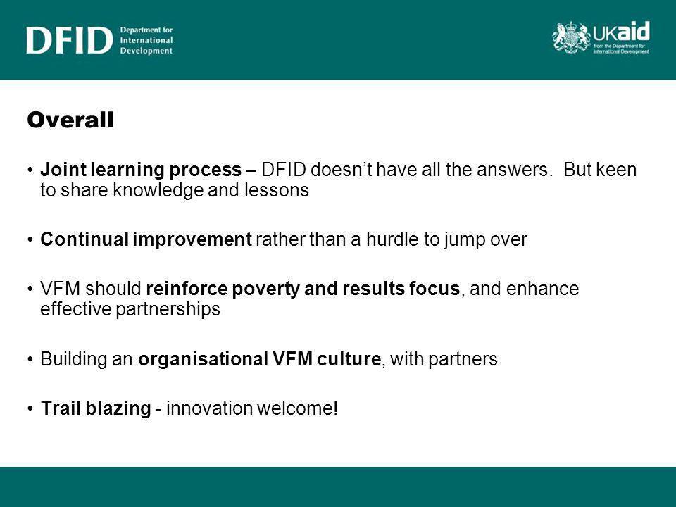 Where are we on governance? Indicators VFM Analytical Framework / Approach
