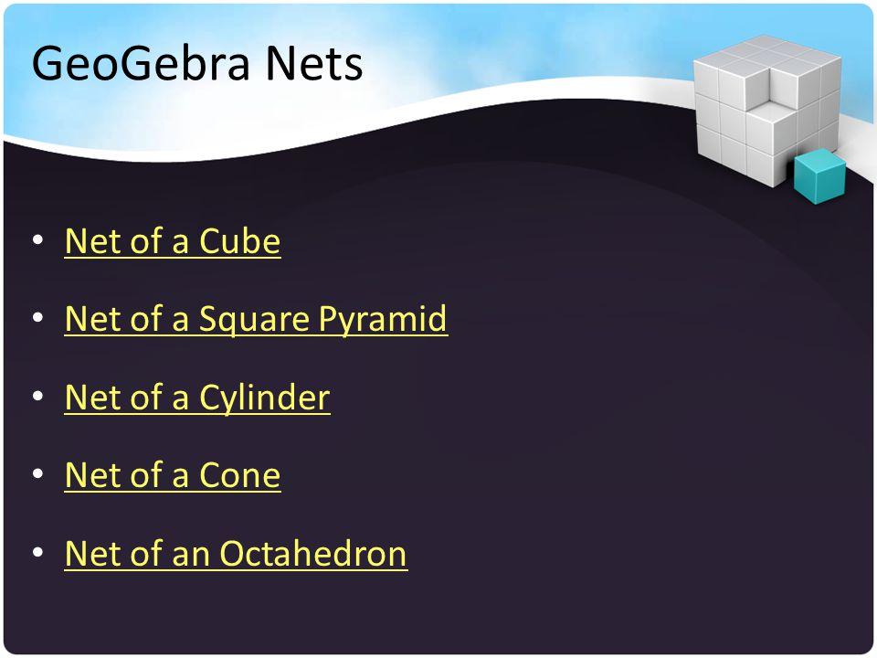 GeoGebra Nets Net of a Cube Net of a Square Pyramid Net of a Cylinder Net of a Cone Net of an Octahedron
