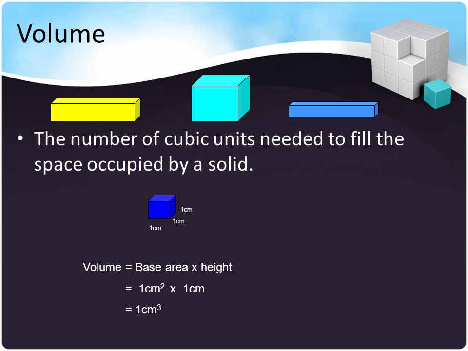 Volume The number of cubic units needed to fill the space occupied by a solid.