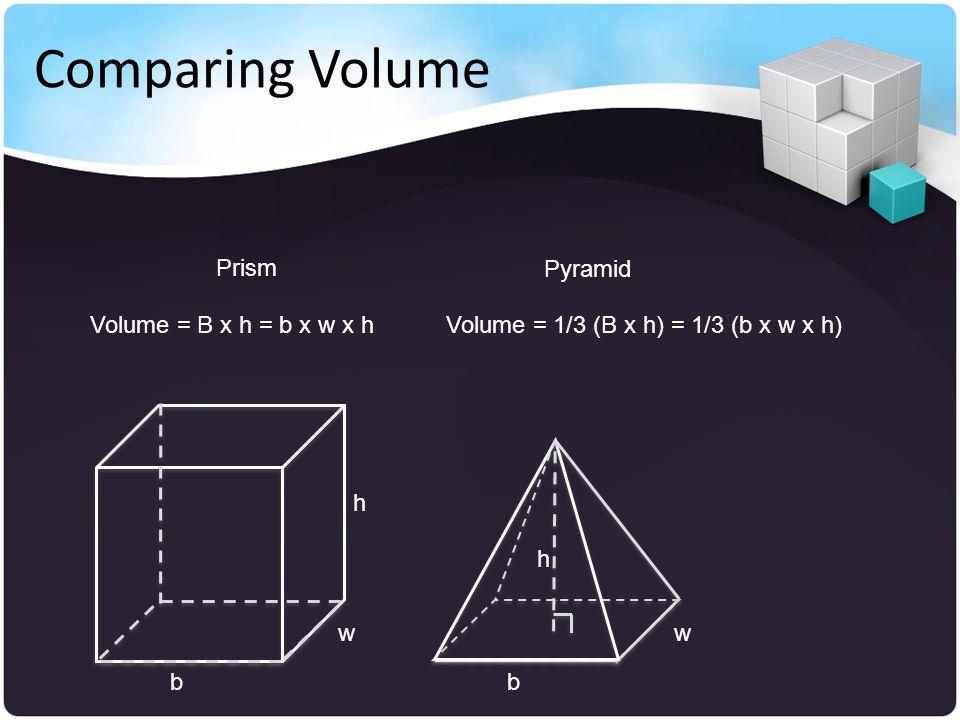 b w h h b w Volume = B x h = b x w x hVolume = 1/3 (B x h) = 1/3 (b x w x h) Prism Pyramid