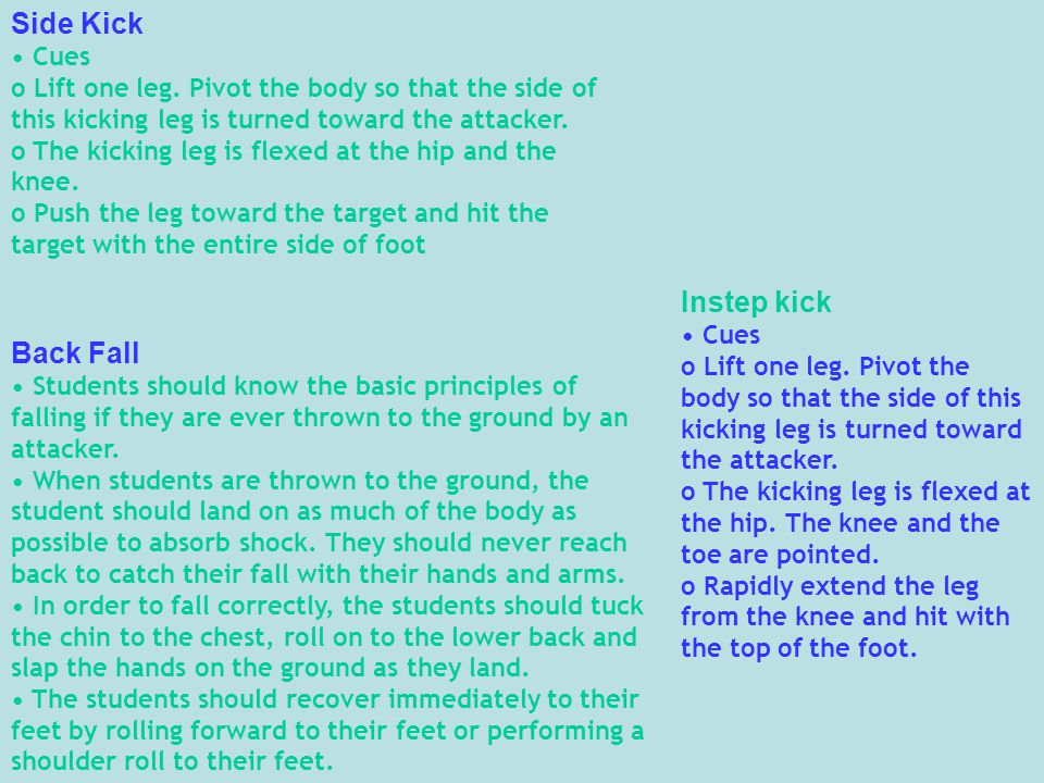 Side Kick Cues o Lift one leg.