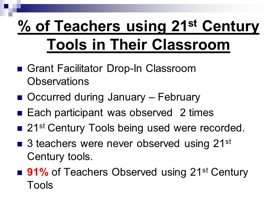 % of Teachers using 21 st Century Tools in Their Classroom Grant Facilitator Drop-In Classroom Observations Occurred during January – February Each participant was observed 2 times 21 st Century Tools being used were recorded.