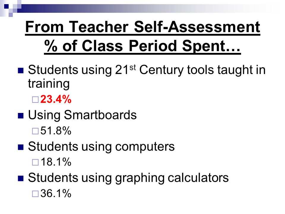 From Teacher Self-Assessment % of Class Period Spent… Students using 21 st Century tools taught in training  23.4% Using Smartboards  51.8% Students using computers  18.1% Students using graphing calculators  36.1%