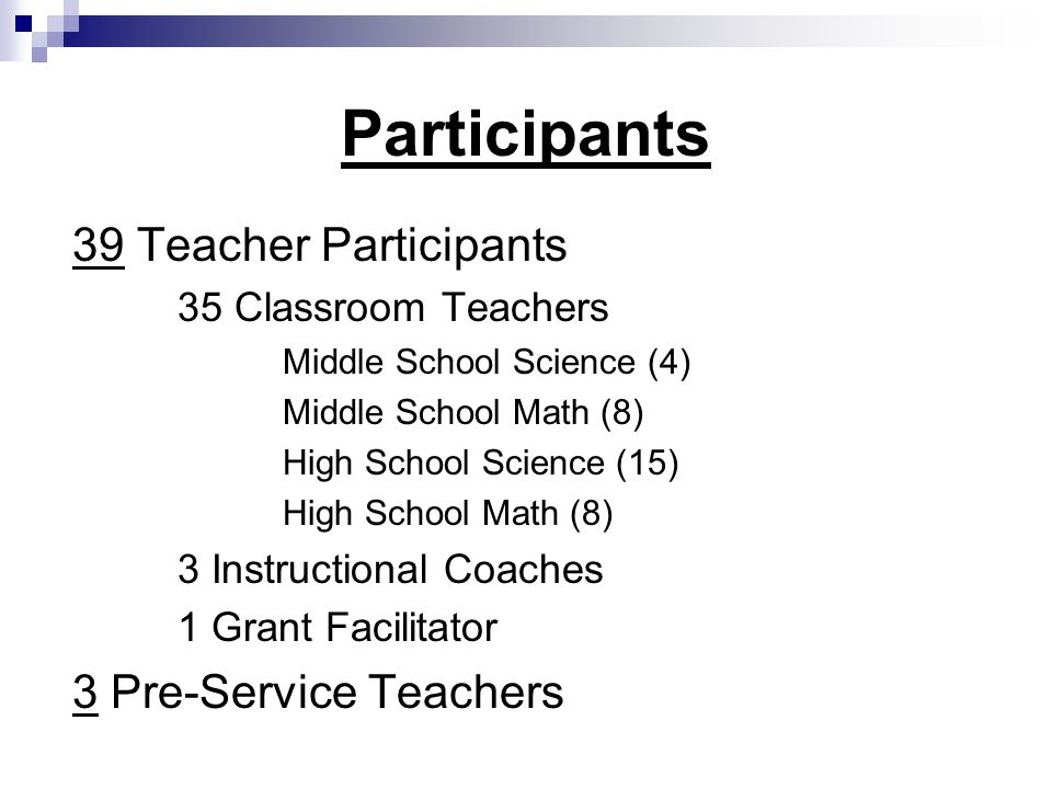 Participants 39 Teacher Participants 35 Classroom Teachers Middle School Science (4) Middle School Math (8) High School Science (15) High School Math (8) 3 Instructional Coaches 1 Grant Facilitator 3 Pre-Service Teachers