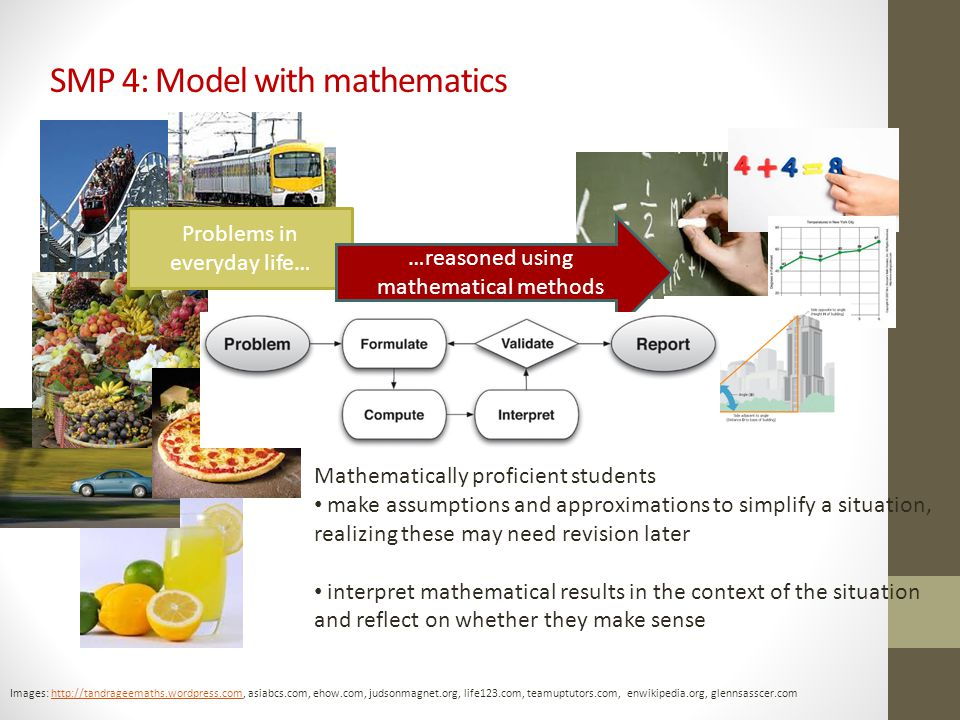 SMP 4: Model with mathematics Images: http://tandrageemaths.wordpress.com, asiabcs.com, ehow.com, judsonmagnet.org, life123.com, teamuptutors.com, enwikipedia.org, glennsasscer.comhttp://tandrageemaths.wordpress.com Problems in everyday life… Mathematically proficient students make assumptions and approximations to simplify a situation, realizing these may need revision later interpret mathematical results in the context of the situation and reflect on whether they make sense …reasoned using mathematical methods