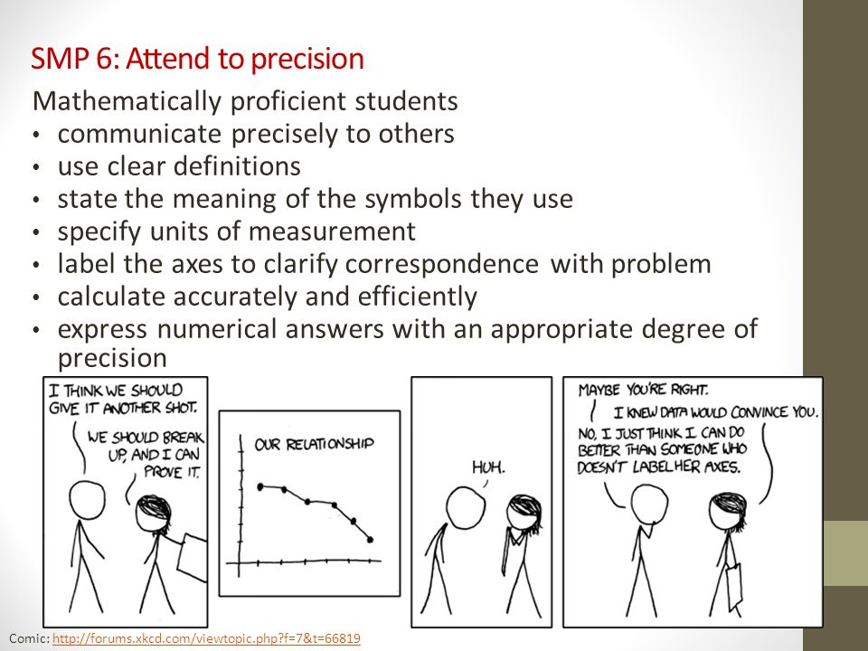 SMP 6: Attend to precision Mathematically proficient students communicate precisely to others use clear definitions state the meaning of the symbols they use specify units of measurement label the axes to clarify correspondence with problem calculate accurately and efficiently express numerical answers with an appropriate degree of precision Comic: http://forums.xkcd.com/viewtopic.php?f=7&t=66819http://forums.xkcd.com/viewtopic.php?f=7&t=66819
