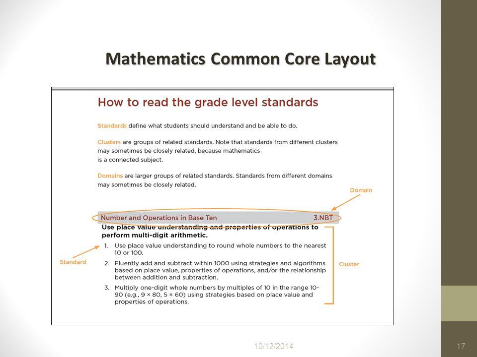 10/12/201417 Mathematics Common Core Layout