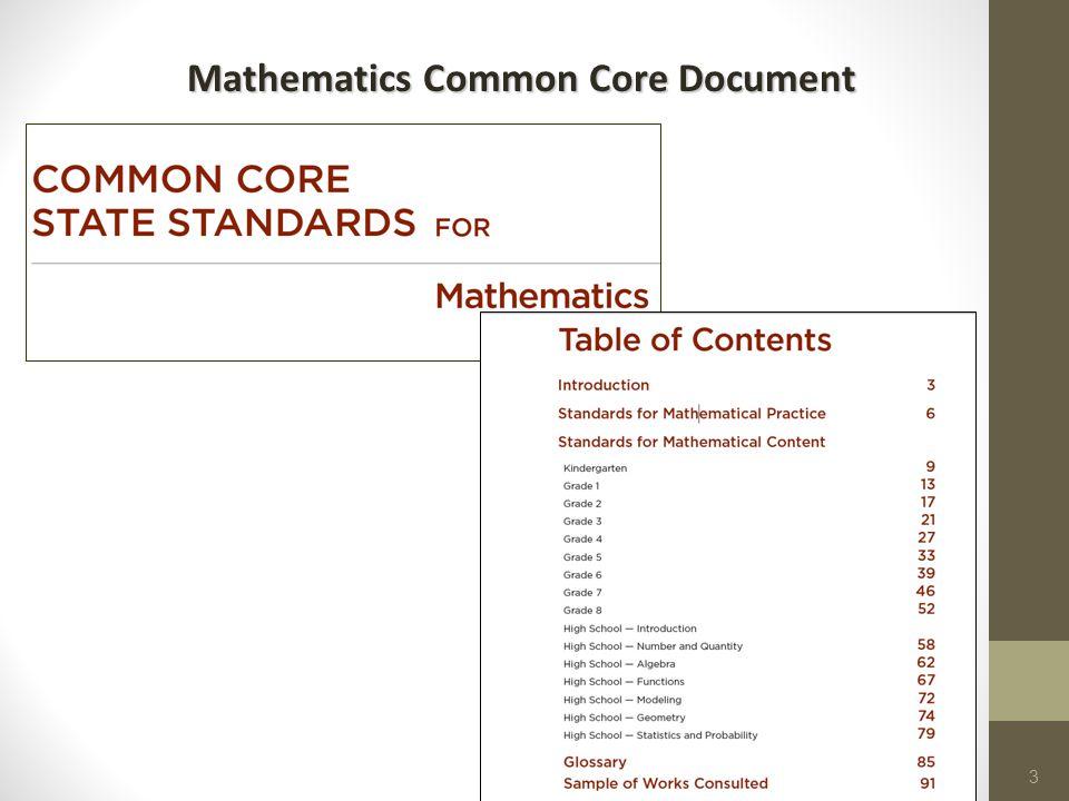 10/12/20143 Mathematics Common Core Document