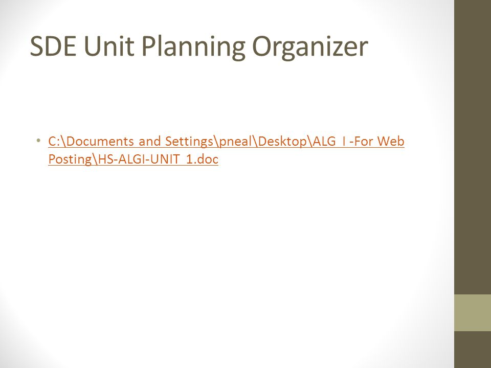SDE Unit Planning Organizer C:\Documents and Settings\pneal\Desktop\ALG I -For Web Posting\HS-ALGI-UNIT 1.doc C:\Documents and Settings\pneal\Desktop\