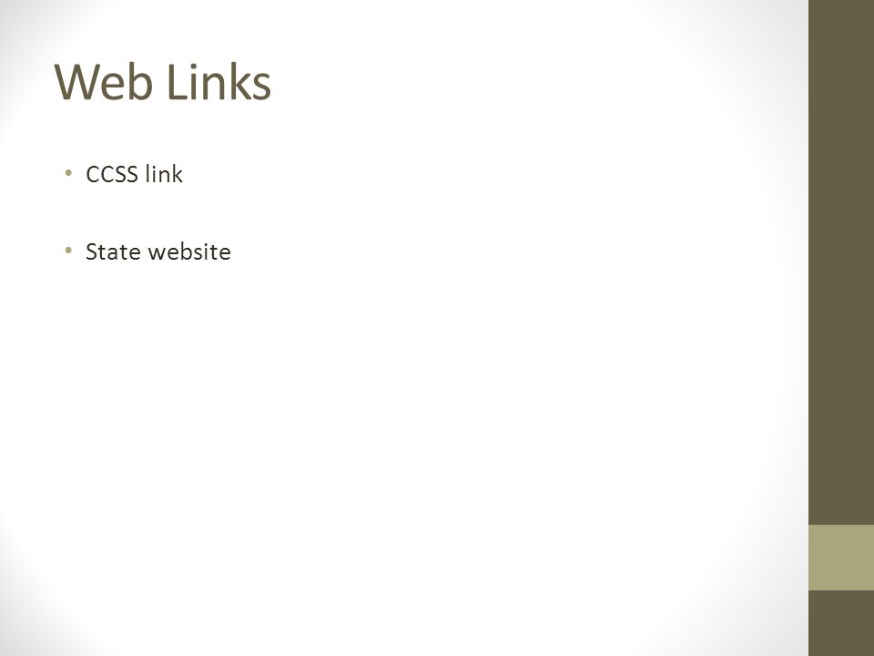Web Links CCSS link State website