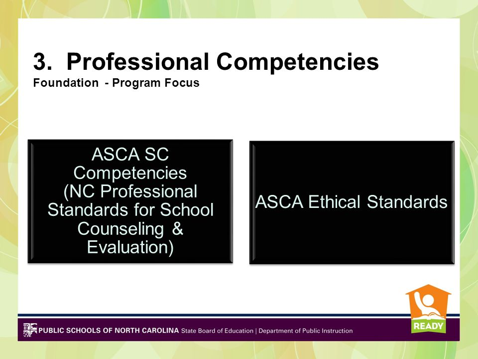 2. Student Competencies Foundation ASCA Student Standards Other Student Standards (NC Guidance Essential Standards)