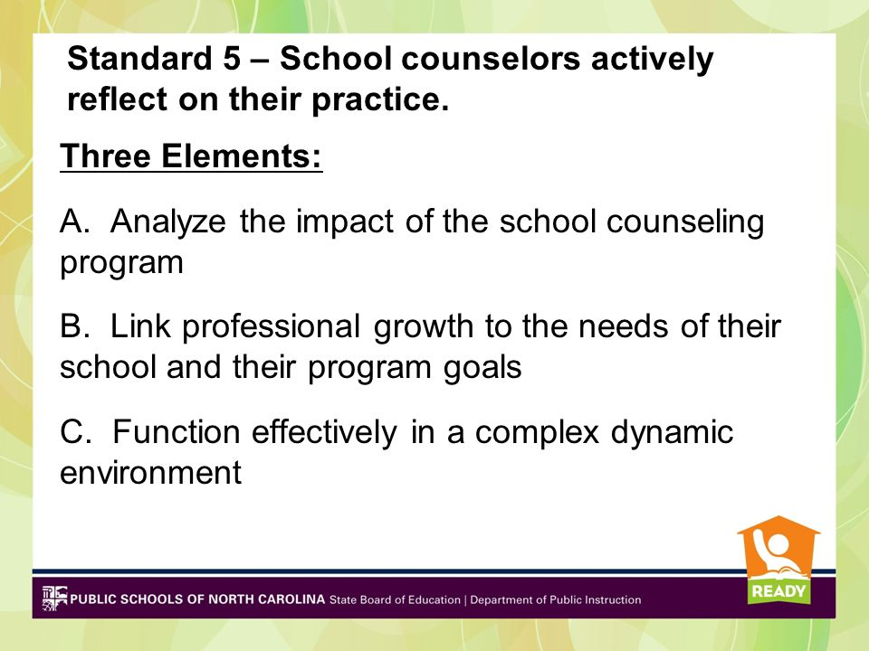Standard 4 – School counselors promote learning for all students Four Elements: A.